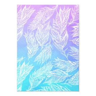 Handdrawn paisley feathers Purple Teal Watercolor Card
