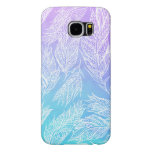 Handdrawn paisley feathers Purple Teal Watercolor Samsung Galaxy S6 Cases