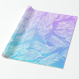 Handdrawn paisley feathers Purple Teal Watercolor Wrapping Paper