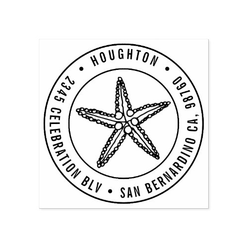 Handdrawn Starfish Round Typography Return Address Rubber Stamp
