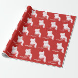 Hand shaped handdrawn sweet kitty cartoon wrapping paper