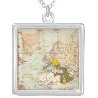 Handels Colonial Atlas Map Silver Plated Necklace