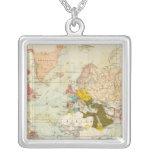 Handels Colonial Atlas Map Square Pendant Necklace