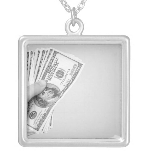 Handful of Money Square Pendant Necklace