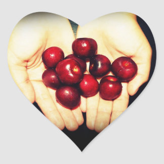 Handful of Ripe Cherries Heart Sticker