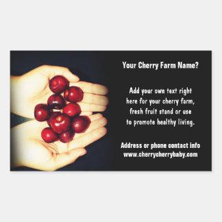 Handful of Ripe Cherries Rectangular Sticker
