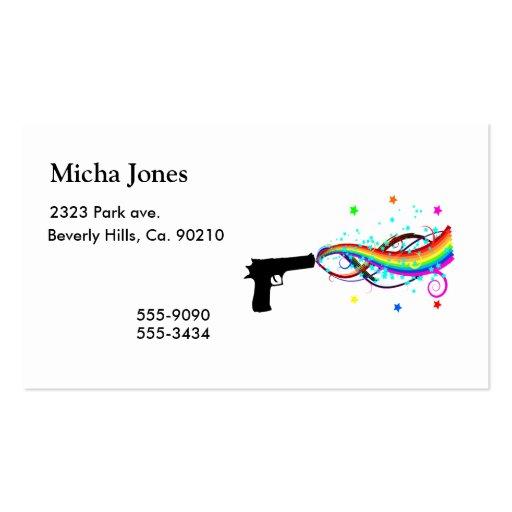 Handgun Shooting Stars & Rainbows Business Card Template