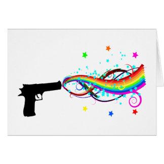 Handgun Shooting Stars & Rainbows Card