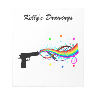 Handgun Shooting Stars & Rainbows Notepad