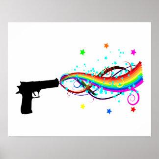 Handgun Shooting Stars & Rainbows Poster