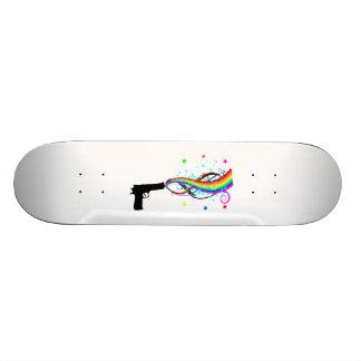 Handgun Shooting Stars & Rainbows Skateboard Deck