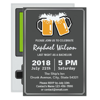 Handheld Game Funny Beers Bachelor Party Card