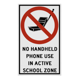 handheld phone use prohibited poster
