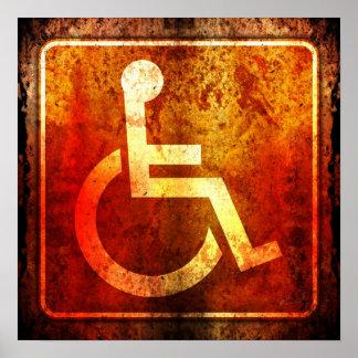 Handicap Access Highway Road Sign Grunge Poster