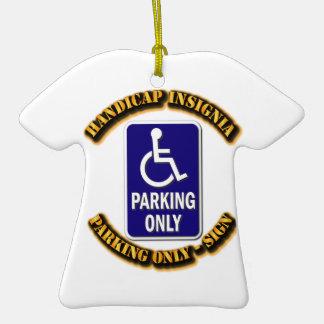 Handicap Insignia,Handicap sign,handicapped tag,ha Double-Sided T-Shirt Ceramic Christmas Ornament