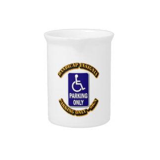 Handicap Insignia,Handicap sign,handicapped tag,ha Beverage Pitcher