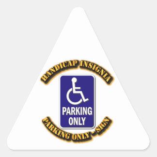 Handicap Insignia,Handicap sign,handicapped tag,ha Triangle Sticker