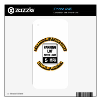 Handicap Insignia - Parking Lot Speed Limit with T iPhone 4S Decals