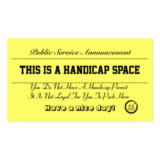 Handicap Parking Notice Cards Double-Sided Standard Business Cards (Pack Of 100)