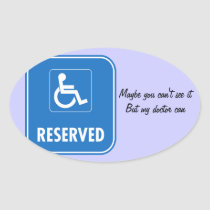 Handicap Parking Sign Oval Sticker