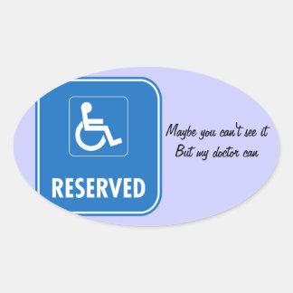 Handicap Parking Sign Oval Sticker