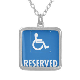 Handicap Parking Sign Silver Plated Necklace