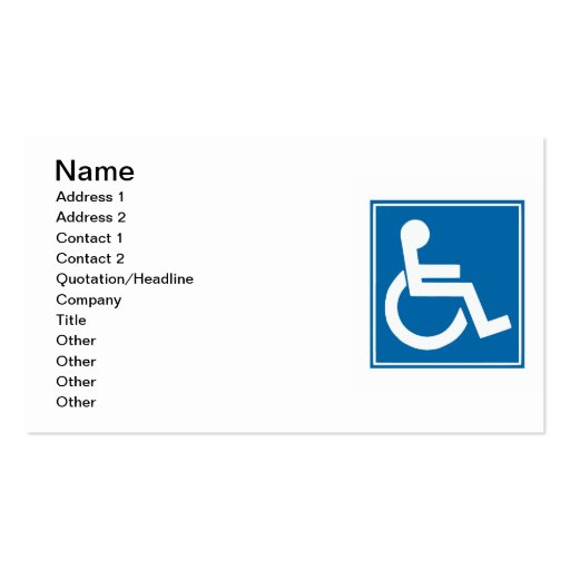 Handicap Sign Business Card