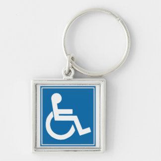 Handicap Sign Silver-Colored Square Keychain