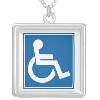 Handicap Sign Silver Plated Necklace