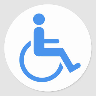 Handicapped blue design! classic round sticker