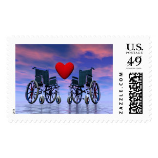 Handicapped persons love - 3D render Postage