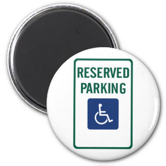 Handicapped Reserved Parking Highway Sign 2 Inch Round Magnet