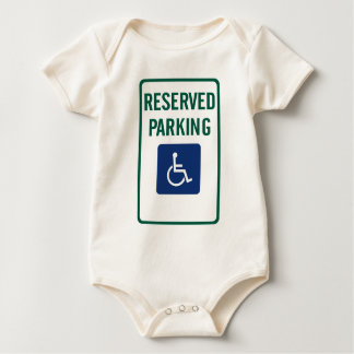 Handicapped Reserved Parking Highway Sign Baby Bodysuit