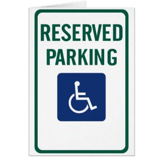 Handicapped Reserved Parking Highway Sign Card