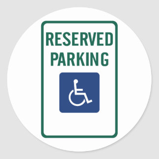 Handicapped Reserved Parking Highway Sign Classic Round Sticker