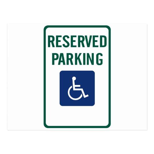 Handicapped Reserved Parking Highway Sign Postcard
