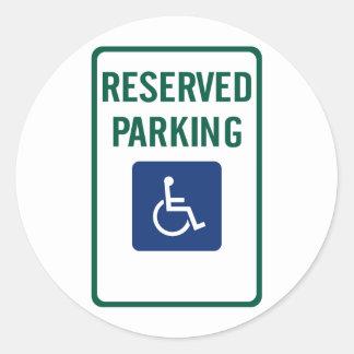 Handicapped Reserved Parking Highway Sign Round Sticker