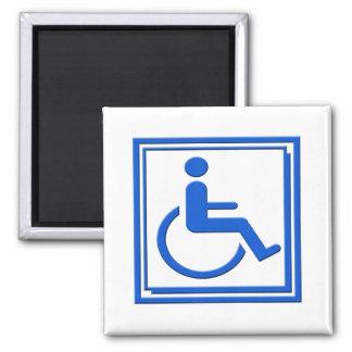 Handicapped Stylish Symbol Blue 2 Inch Square Magnet