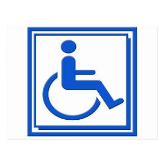 Handicapped Stylish Symbol Blue Postcard