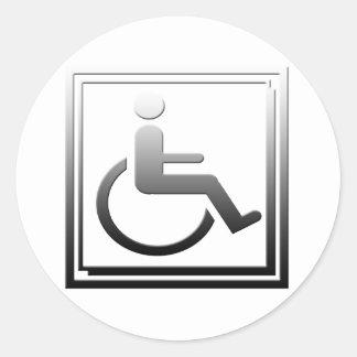 Handicapped Stylish Symbol Chrome Silver Classic Round Sticker