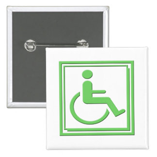 Handicapped Stylish Symbol Green Button