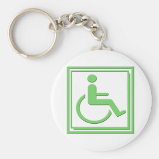 Handicapped Stylish Symbol Green Keychain