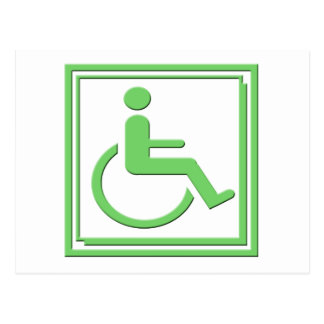 Handicapped Stylish Symbol Green Postcard