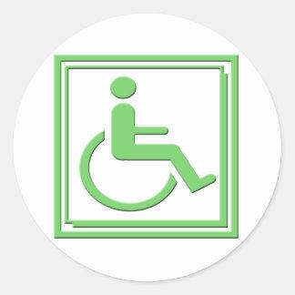 Handicapped Stylish Symbol Green Round Stickers