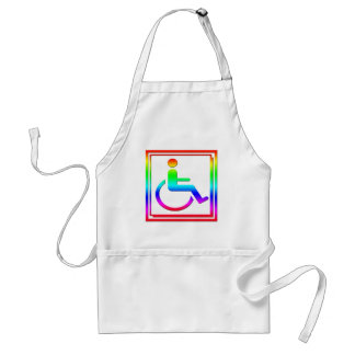 Handicapped Stylish Symbol Multicolored Adult Apron