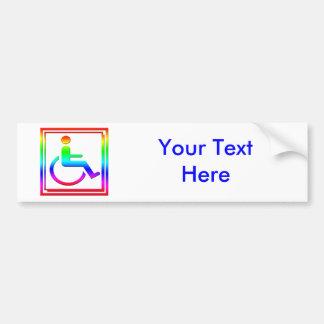Handicapped Stylish Symbol Multicolored Car Bumper Sticker
