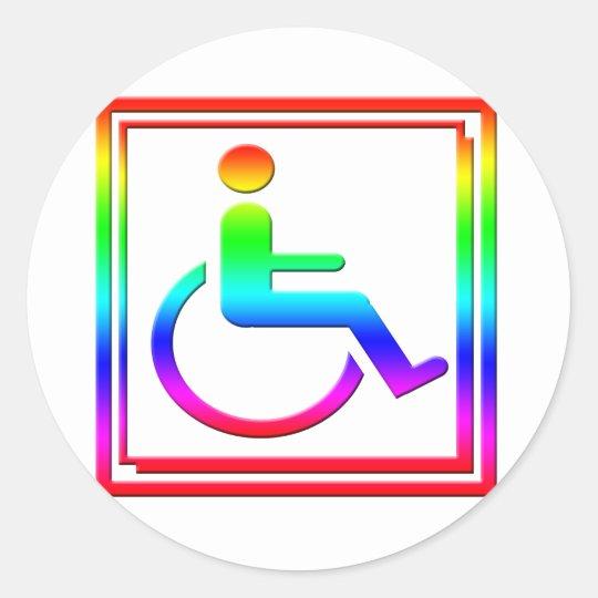 Handicapped Stylish Symbol Multicolored Classic Round Sticker