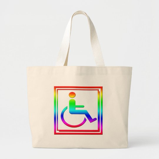 Handicapped Stylish Symbol Multicolored Large Tote Bag