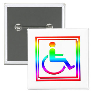 Handicapped Stylish Symbol Multicolored Pinback Button