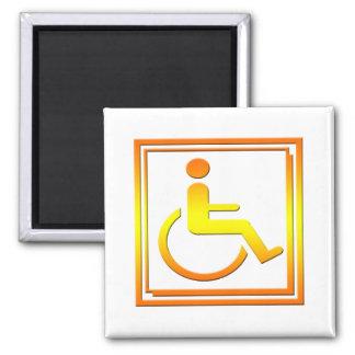 Handicapped Stylish Symbol Yellow Orange 2 Inch Square Magnet